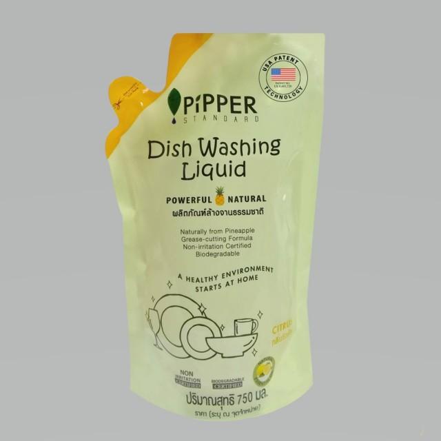 [綠工坊] PiPPER STANDARD 鳳梨酵素洗碗精 補充包(柑橘) 750 ml 沛柏